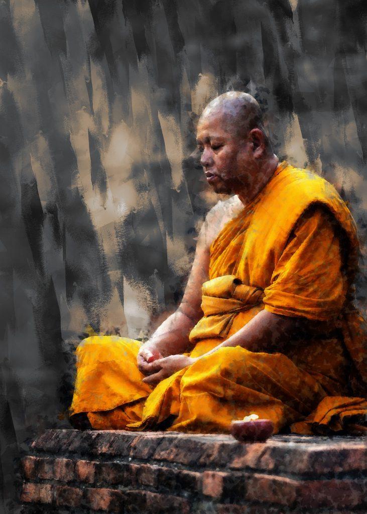 Buddhist Monk Sitting Meditation  - ArtTower / Pixabay