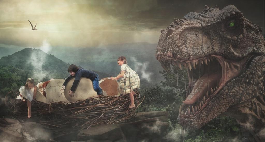 Dinosaur Children Nest Fantasy  - Dieterich01 / Pixabay