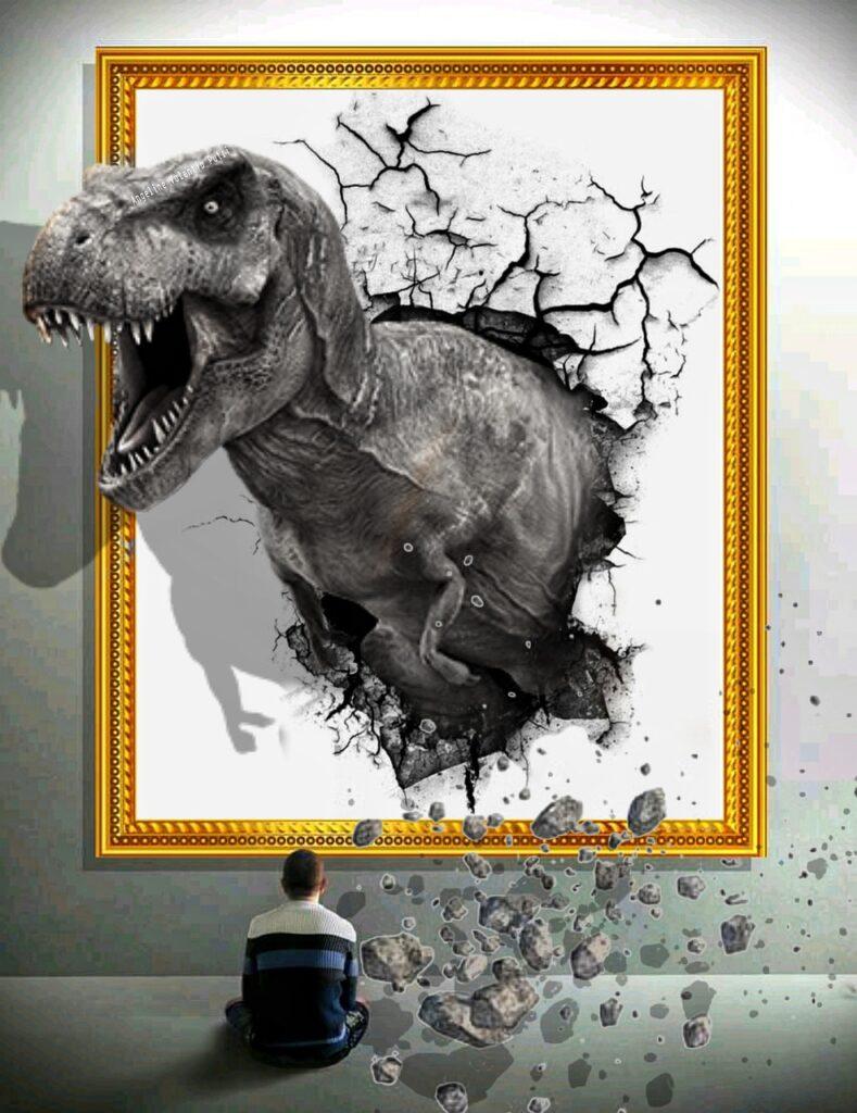 Dinosaur Wall Fantasy Frame Cracks  - firaangella1 / Pixabay