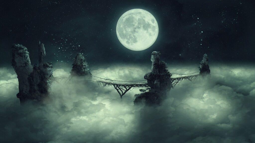 Fantasy Moon Bridge Clouds Cliffs  - Darkmoon_Art / Pixabay