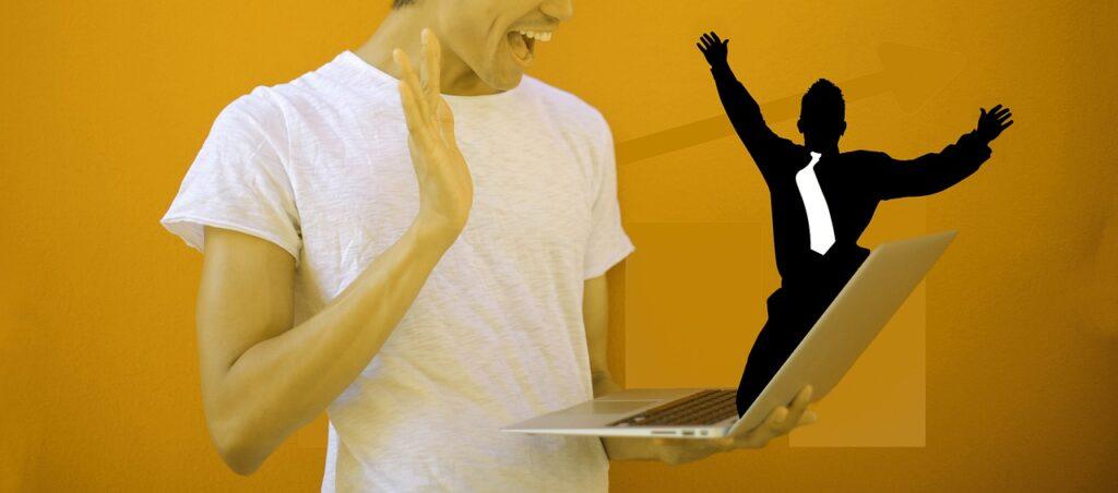 Man Laptop Winner Young T Shirt  - geralt / Pixabay