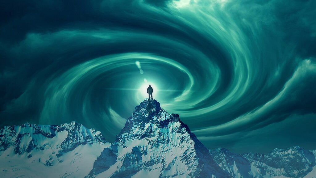 Man Swirl Wormhole Mountain Top  - PhotoVision / Pixabay
