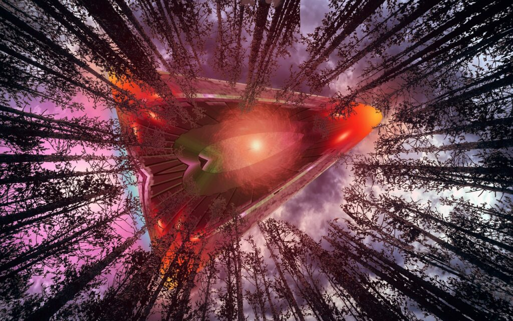 Spaceship Ufo Aliens Trees Woods  - ParallelVision / Pixabay