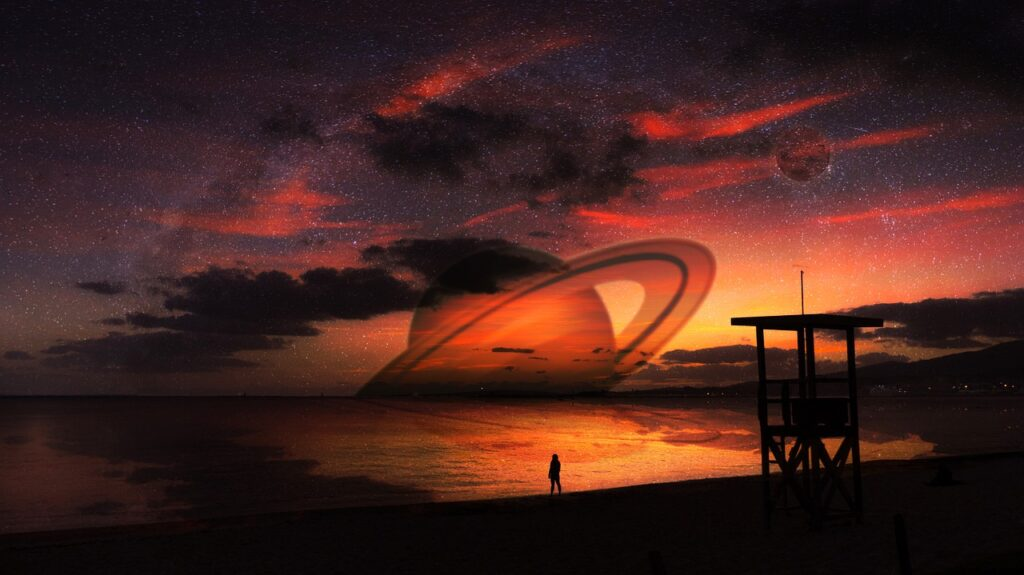 Sunset Moon Saturn Planet Sci Fi  - xisconde / Pixabay