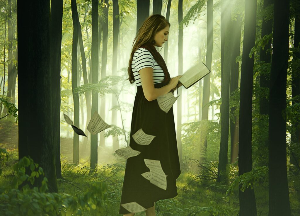 Woman Girl Lady Reading Book Wood  - darksouls1 / Pixabay
