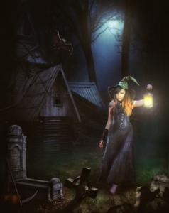 Woman Witch Lamp Graveyard Skulls  - firaangella1 / Pixabay